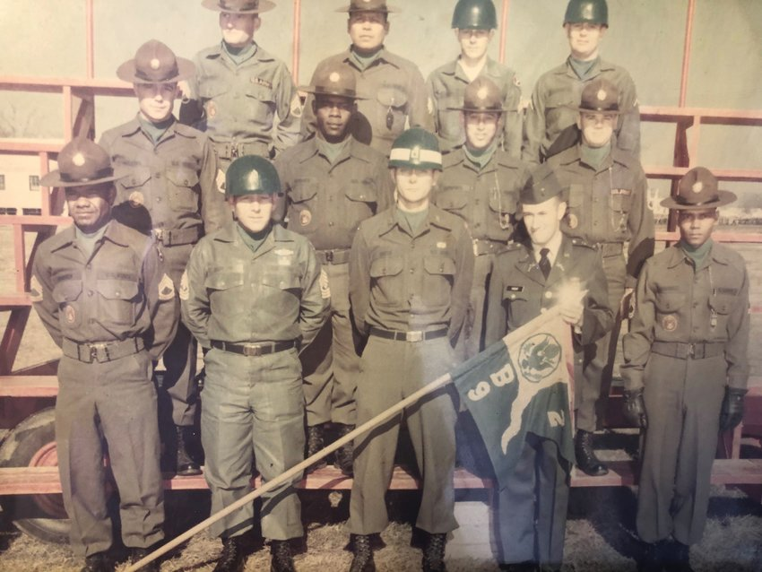 During his time in the service, Mike Ochy (second row, right) was a drill sergeant and trained many men.