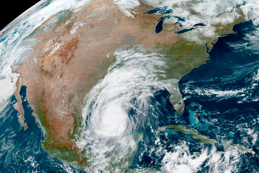 This Oct. 8, 2020 photo made available by the National Oceanic and Atmospheric Administration shows Hurricane Delta in the Gulf of Mexico at 12:41 EDT. (NOAA via AP)