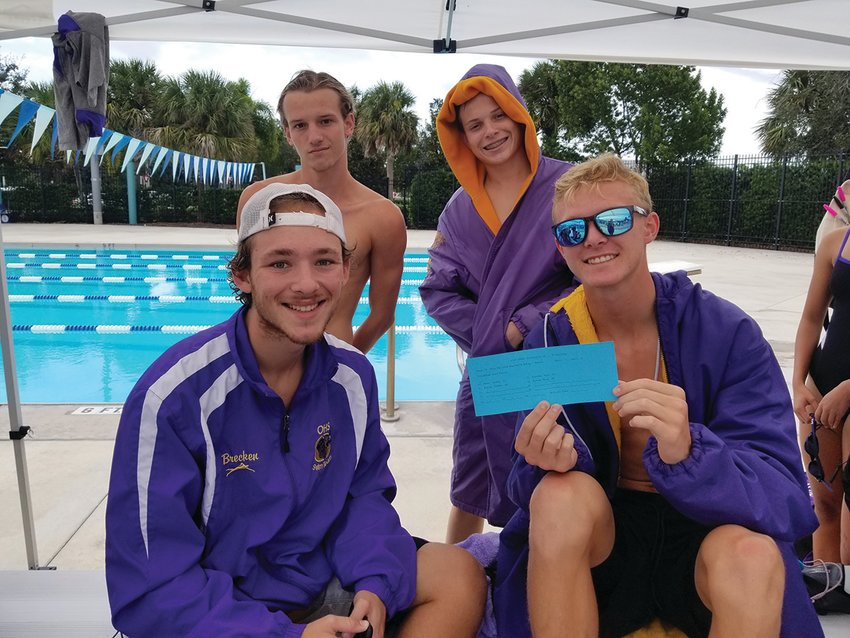 OKEECHOBEE — The Okeechobee High School Boys 200 yard Medley Relay Team includes (left to right) Brecken Hoover, Kase Myers, Gabe Bowen and Dylan DiSilva. Myers, Gabe and DiSilva will also be competing in several individual races.