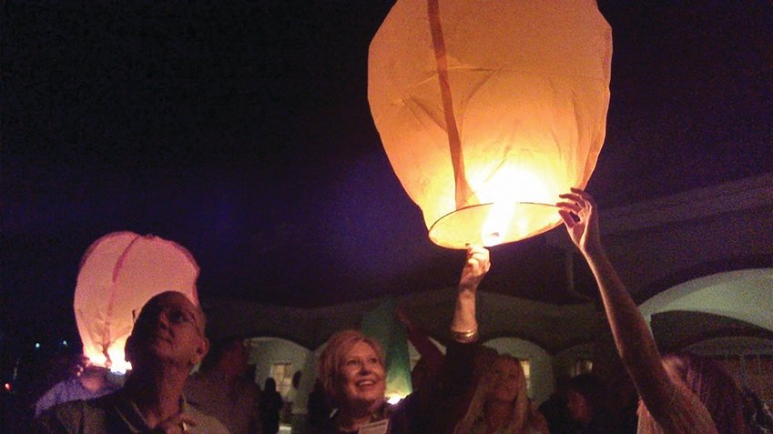 Sky lanterns are released as part of the Night of Remembrance each year.