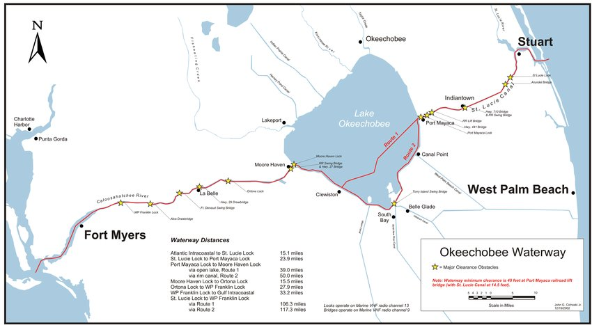 The Lake Okeechobee Waterway extends from coast to coast. This map shows the locations of the locks on the Lake Okeechobee Waterway.