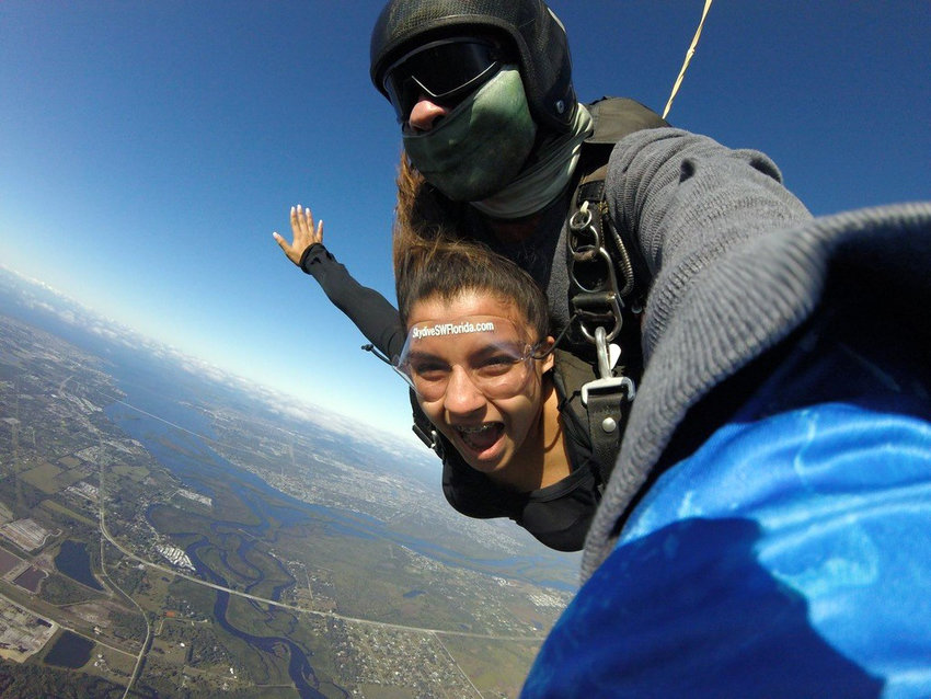 Micaela Soto, a 2019 scholarship recipient used the funds to skydive.
