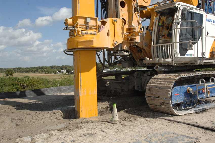 The Concrete Slurry Machine injects the grout into the prepared ground and mixes it with the soil.