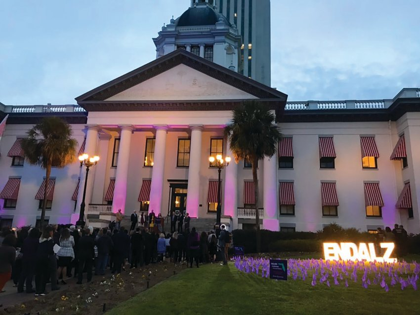 Florida's Historic Capitol is turned purple to promote Alzheimer's Awareness at the 2020 Alzheimer's Rally in Tally.