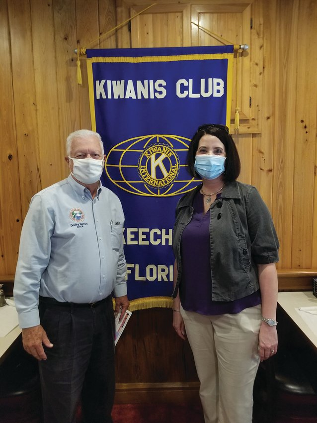 OHS Principal Lauren Myers pictured with Kiwanis guest presenter Mayor Dowling Watford.