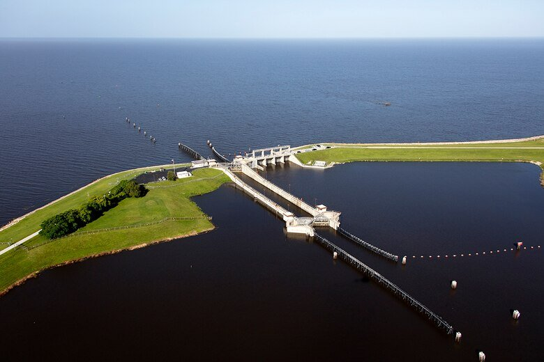 Port Mayaca Lock and Dam and Lake Okeechobee.