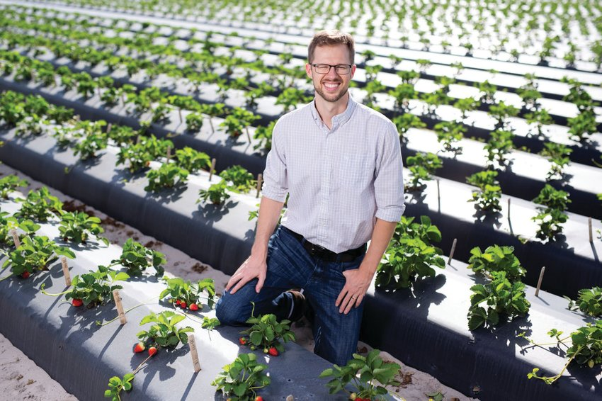 Dr. Vance Whitaker in one of his strawberry fields at the UF/IFAS Gulf Coast Research and Education Center in Balm, Florida.