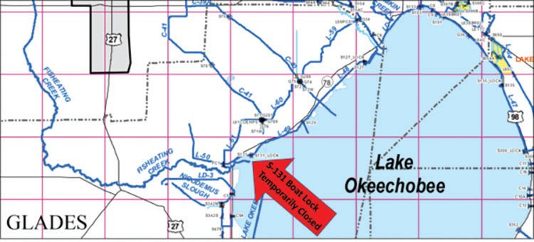 Map showing the location of the S-131 Boat Lock near Lakeport.