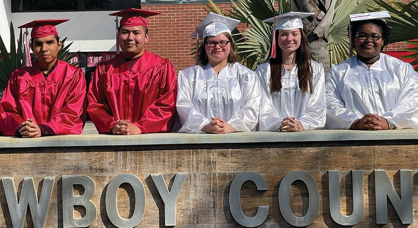 Pictured Left to right are Eric Reyes (Valedictorian), Jose Jimenez (Salutatorian), Sarah Snow, Alyssa Harrell, and Kyla Miller.