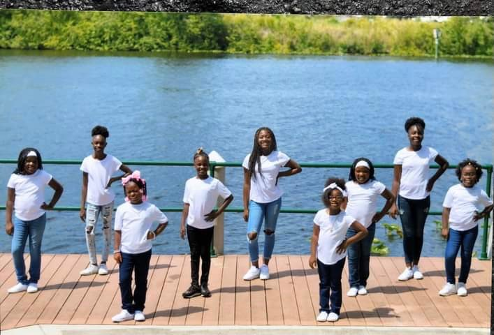 Black Heritage Festival Pageant Contestants practice for the upcoming event. (In the group picture from left to right (row 1) Tiana Williams, Diaz'Sha Gunsby, (row 2) De'Metrauh Johnson (absent), Jade Williams, Journee Douglas, Jazlynn Williams, Malijah Willis, (row 3) Izarria Ray, Kamryn Johnson and Jontariea Outlaw)