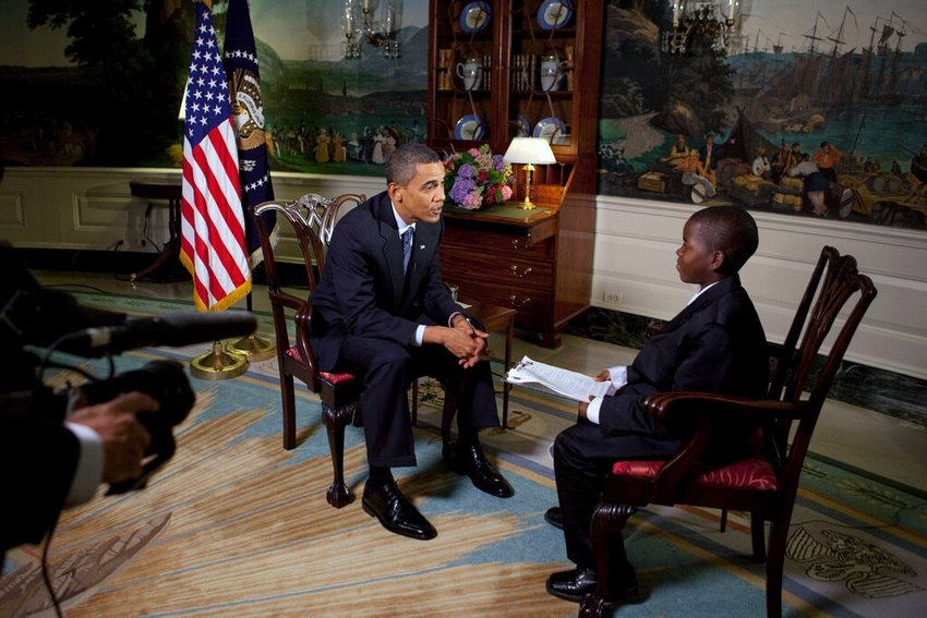 At age 11, Damon Weaver interviewed President Obama at the White House.
