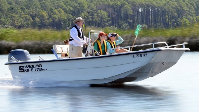 Boaters enjoying a nice day on the water in St. Marks, FL
