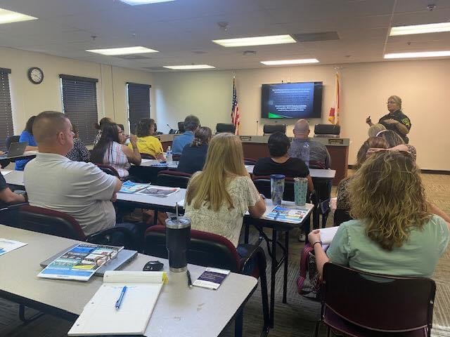 Sgt. Wanda Hainley, of the Hendry County Sheriffs Office (HCSO), presents Human Trafficking Awareness and Prevention Training to Hendry County's School Counselors.