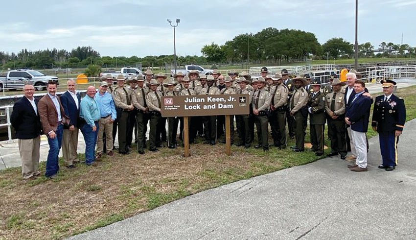 On June 18, the U.S. Army Corps of Engineers Jacksonville District and the Florida Fish and Wildlife Conservation Commission (FWC) hosted an event commemorating the renaming of the Moore Haven Lock and Dam to honor fallen FWC Officer Julian Keen, Jr.