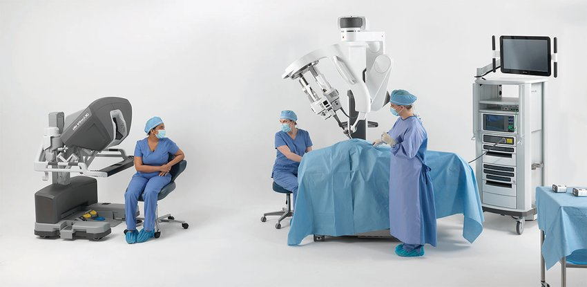 This is a photo of the console the physician will sit in to manipulate the robot.
