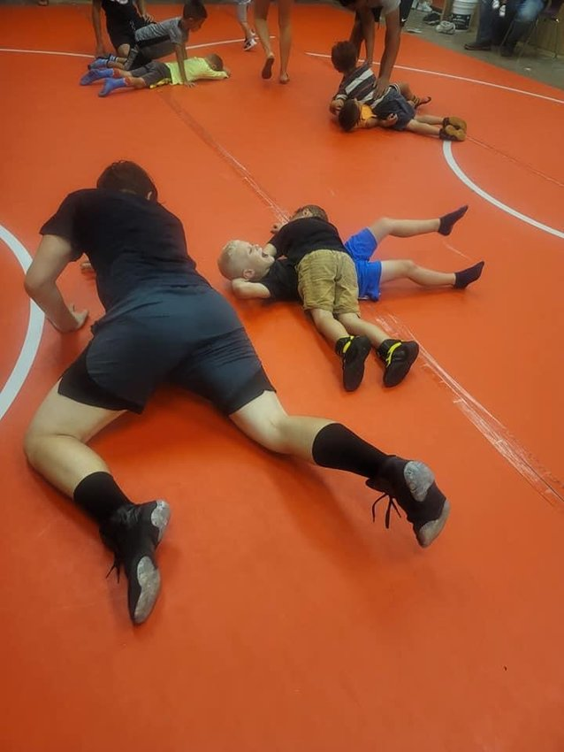 Young wrestlers train during the new Hendry Wrestling Club practices held at LHS.