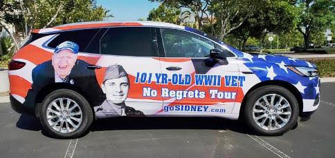 Sidney Walton tours the United States raising awareness of veterans who have sacrificed so much for our country. His car was recently updates to reflect his new milestone. He is now 102 years old.