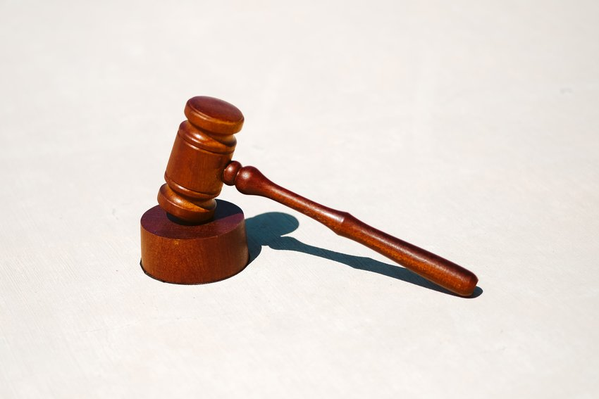 A gavel ready for use