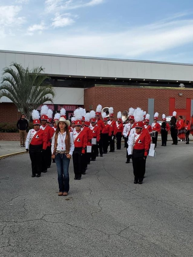 The LaBelle High School Band lines up for Band Night on September 10, 2021.