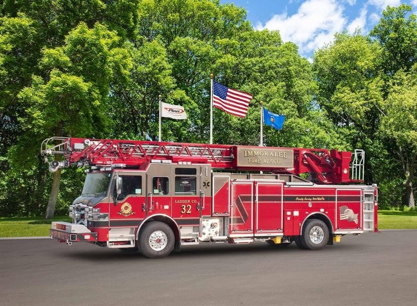 The 2021 Pierce Velocity 107ft ascendant ladder truck will be housed at the new Station 32, in Ave Maria, when it opens.