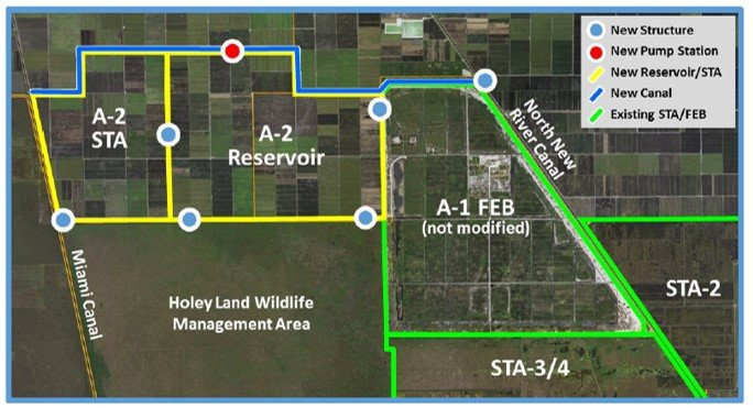 The Everglades Agricultural Area (EAA) reservoir will be built on former sugar cane farm land in the EAA. The reservoir will cover about 10,500 acres. The stormwater treatment area (STA) will cover about 6,500 acres. To the east of the reservoir is the A-1 Flow Equalization Basin (FEB)