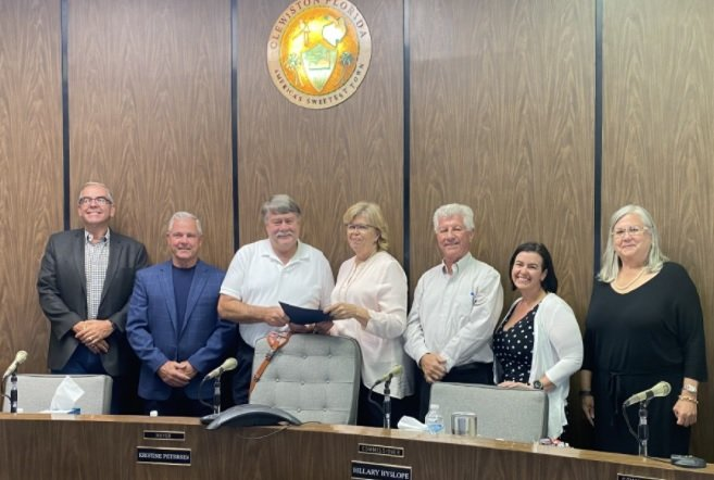 The City of Clewiston Board of Commissioners recognized retired Public Works Director Sean Scheffler for his 42 years of service during its Oct. 18 BOC meeting. Left to right: Vice Chair Greg Thompson, Commissioner James Pittman, Sean Scheffler, Mayor Kristine Petersen, City Manager Randy Martin, Commissioner Hillary Hyslope and Commissioner Mali Gardner.