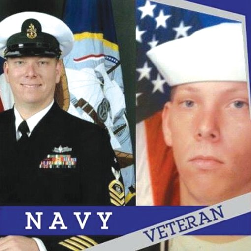 Veteran Gary Walker is shown in his basic training photo (right) and his last official photo before retiring from the Navy after 22 years of service.