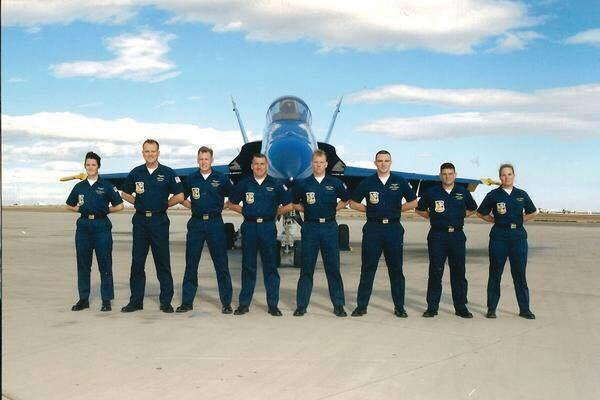 Gary Walker (fifth from left) joined the Blue Angels in 1996.