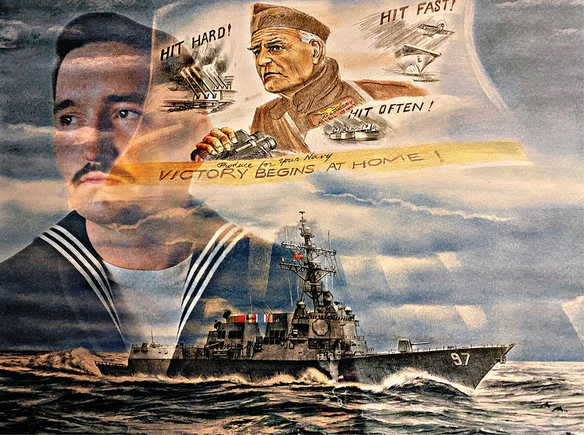 """This might be my favorite photo,"" said veteran Dillon Jones. ""My girlfriend Mary Maquera took the photo of me in my dress blues and overlaid two large art pieces I have from my ship. I was on the USS Halsey from 2016 until 2020."""