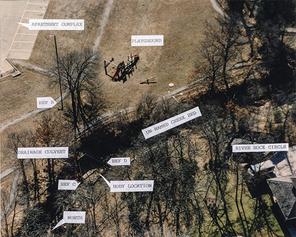 Aerial of area where Amber's body was found with labels made by detectives.