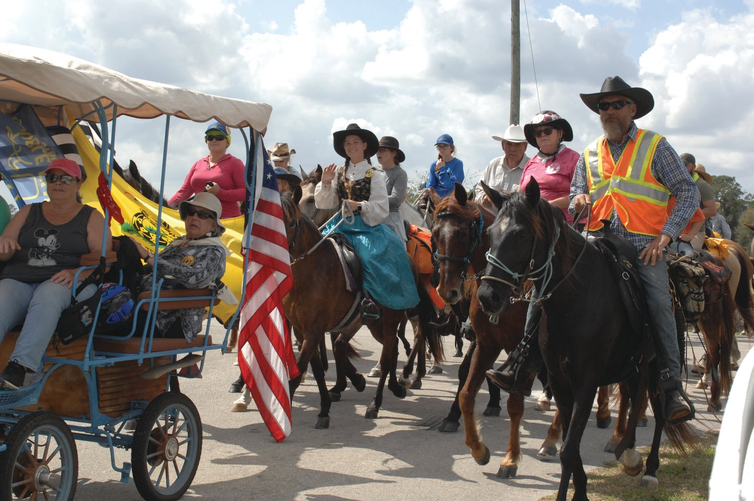 The annual Cracker Trail ride includes those on horseback and some in wagons or buggies. They ride the old Cracker Trail which was once the dry route across the state to take cattle to market.