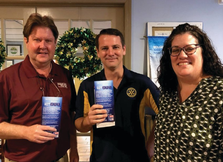 Pictured left to right Greg Gunter, Coordinator United Way, Grayson Hicks, Rotary President and Lisa Sands, Manager United Way.