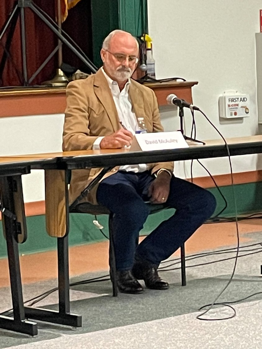 City Council candidate David McAuley prepares himself for the next question during the forum.