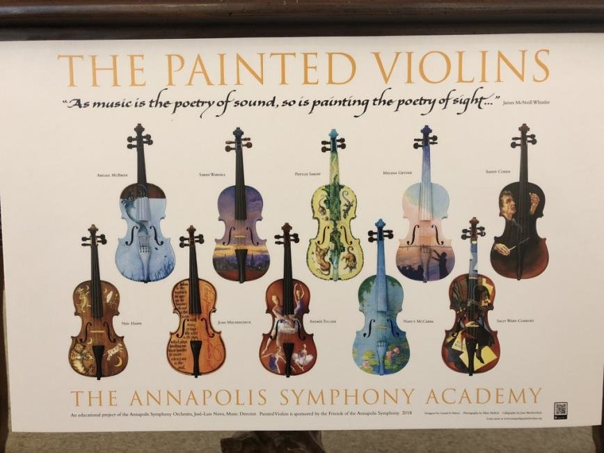 The painted violins will be on display throughout Anne Arundel County through December to be raffled on, and all proceeds go to the Annapolis Symphony Academy.