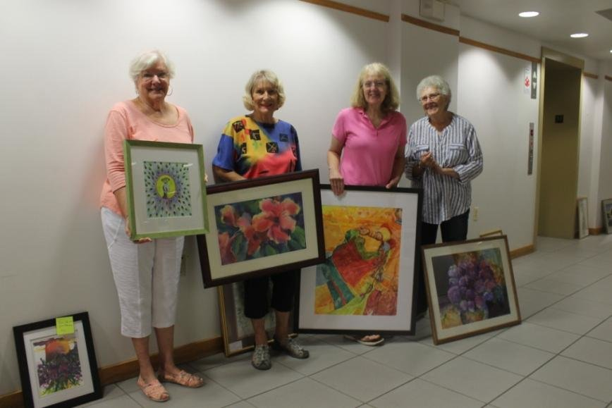 "(L-R) Barbara Burns, Carolyn Councell, Janice Hendra and Joan Machinchick are some of the Annapolis Watercolor Club members participating in ""A Brush With Color,"" an exhibit at Woods Memorial Presbyterian Church from August 26 to September 23."