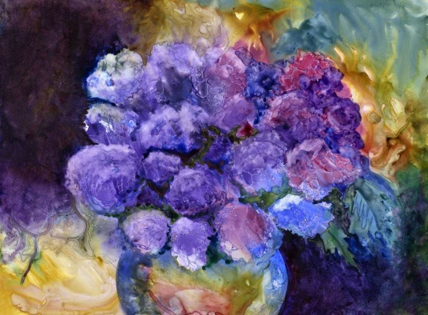 "Joan Machinchick submitted her piece ""June Riches"" for the Annapolis Watercolor Club's ""A Brush With Color"" exhibit."