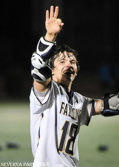 Severna Park's Jack Thomas held three fingers in the air and waved to friends in the crowd as the Falcons celebrated their third consecutive state championship with an 8-7 OT win over Churchill.