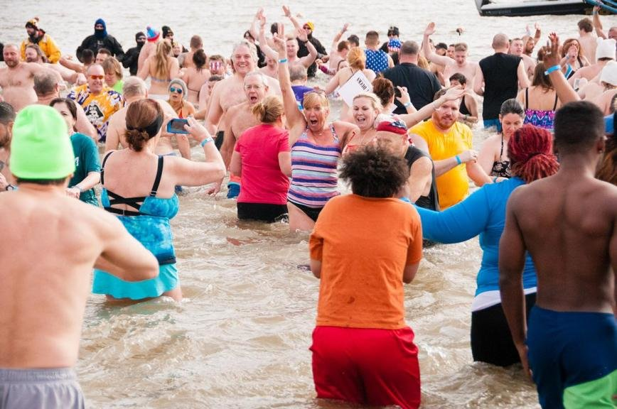 One of Maryland's more popular traditions, the Polar Bear Plunge closes out the month of January every year by drawing more than 10,000 courageous participants to Sandy Point State Park for a quick splash in the Chesapeake Bay.