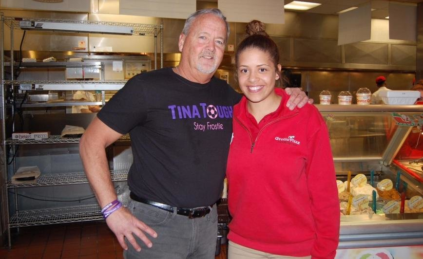Rich Frost thanked Grotto Pizza Gambrills Bartender/Server Sarah Bonney for organizing a fundraiser for his daughter, Tina Frost.