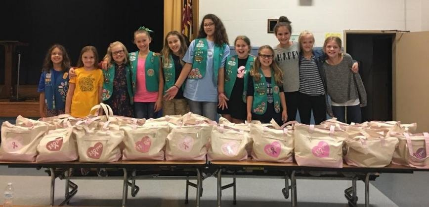 A year of planning and fundraising allowed Troop 2106 to create 40 chemo care packages for women undergoing treatment for breast cancer.