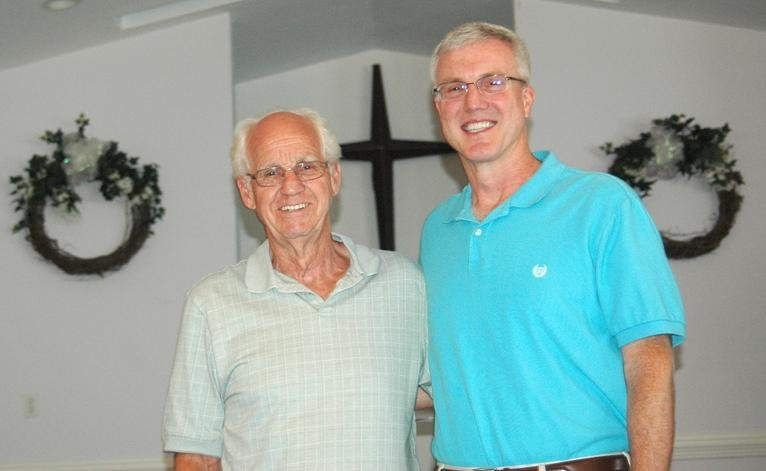 Doug Alberts (left), pastor of Grace Baptist Church, will retire at the end of August and will be succeeded by Gordon Fox.