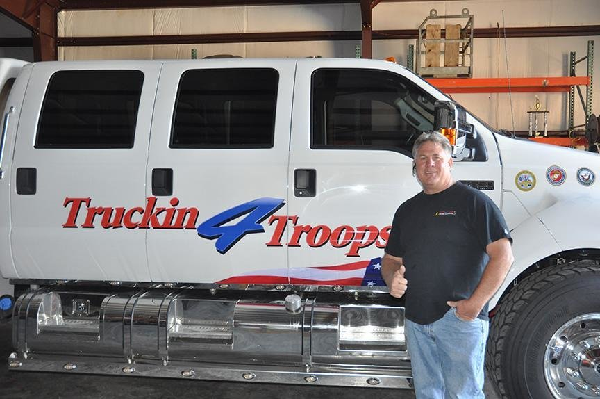 Truckin 4 Troops founder Scott Mallary owns numerous trucks adorned with the Truckin 4 Troops logo, which he uses to help wounded veterans.