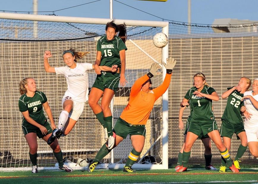 The defense of Kira Carberry (9), Jenna Surdick (15), Tiffany Dayton-Hegedus (in orange), Becky Frost (1), Tessa Rendina (22) and the entire Arundel girls' soccer team allowed the Wildcats to outlast Broadneck for a 1-0 victory in the county championship game at Northeast High School on October 22.
