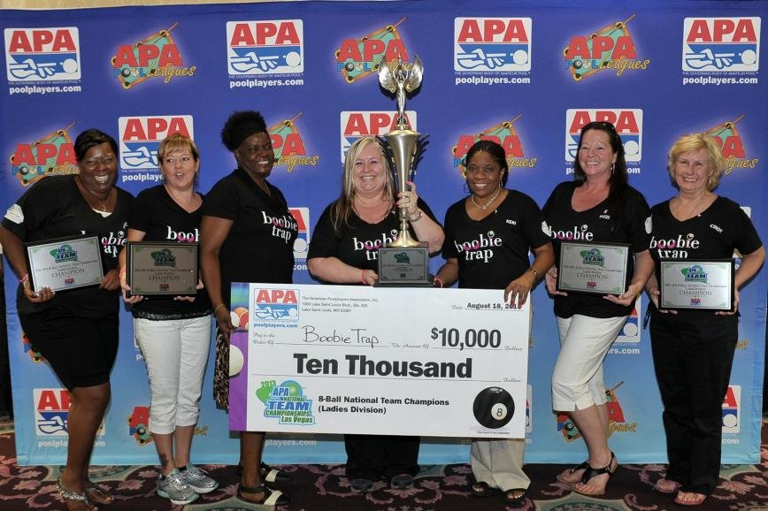 In Las Vegas this August, Gambrills-based Boobie Trap, consisting of (L-R) Charsett Brown, Charlynn Dzambo, Karen Briscoe, Beverlee Dillow, Keri Williams, Suzi Holtz and Cynthia Barrow, went 6-0 and won the American Poolplayers Association Ladies 8-Ball Division national championship and its $10,000 first-place prize.