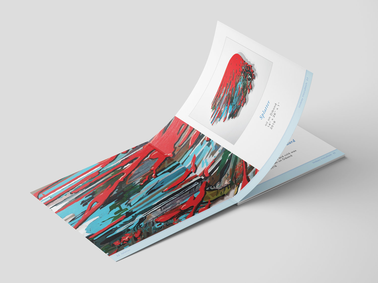 "Jennifer Schuster's ""Lindsay McCulloch Paintings"" is a digitally printed bi-fold catalogue."
