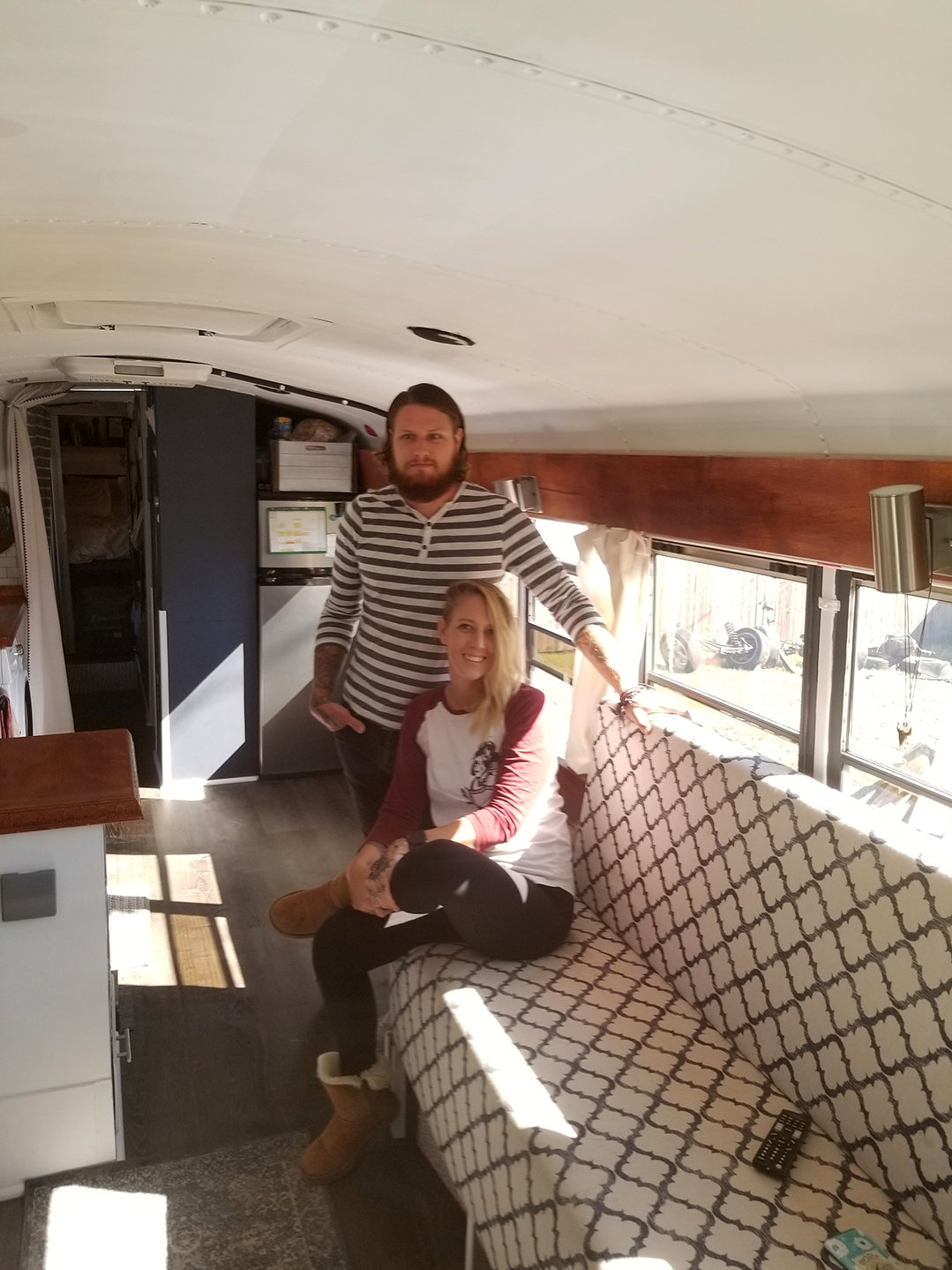 Sean Hetrick and his wife, Ally, transformed an old school bus into a mobile home that will also serve as his means of transportation during a national tour that starts in January.