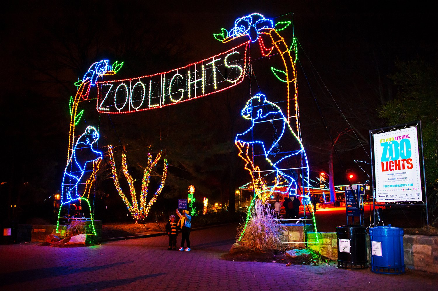 ZooLights includes live music, winter treats and opportunities for holiday shopping. Oh — and more than 500,000 LED lights decorate the zoo, transforming it into a winter wonderland.