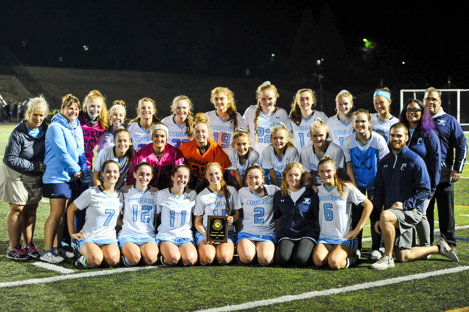 The Cougars won their fourth consecutive region championship on October 31, coming from behind to defeat Mount Hebron, 2-1.