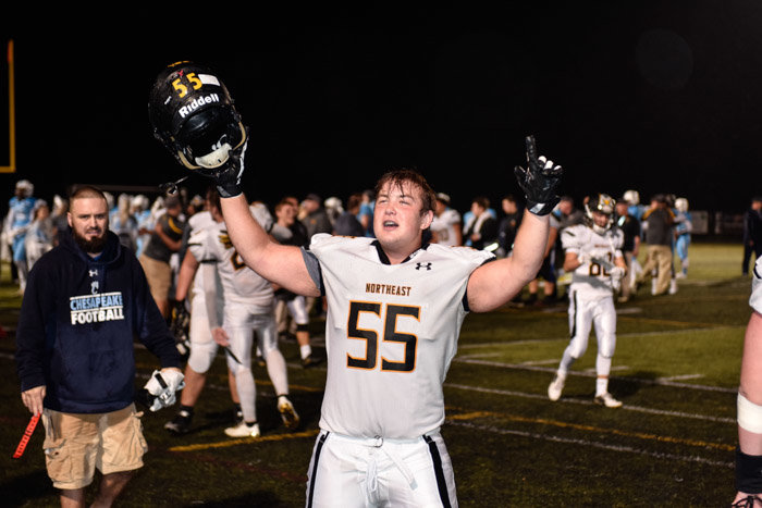 Northeast's Brandon Baublitz celebrated the Eagles' comeback victory over the Cougars in the November 2 Dena Bowl.