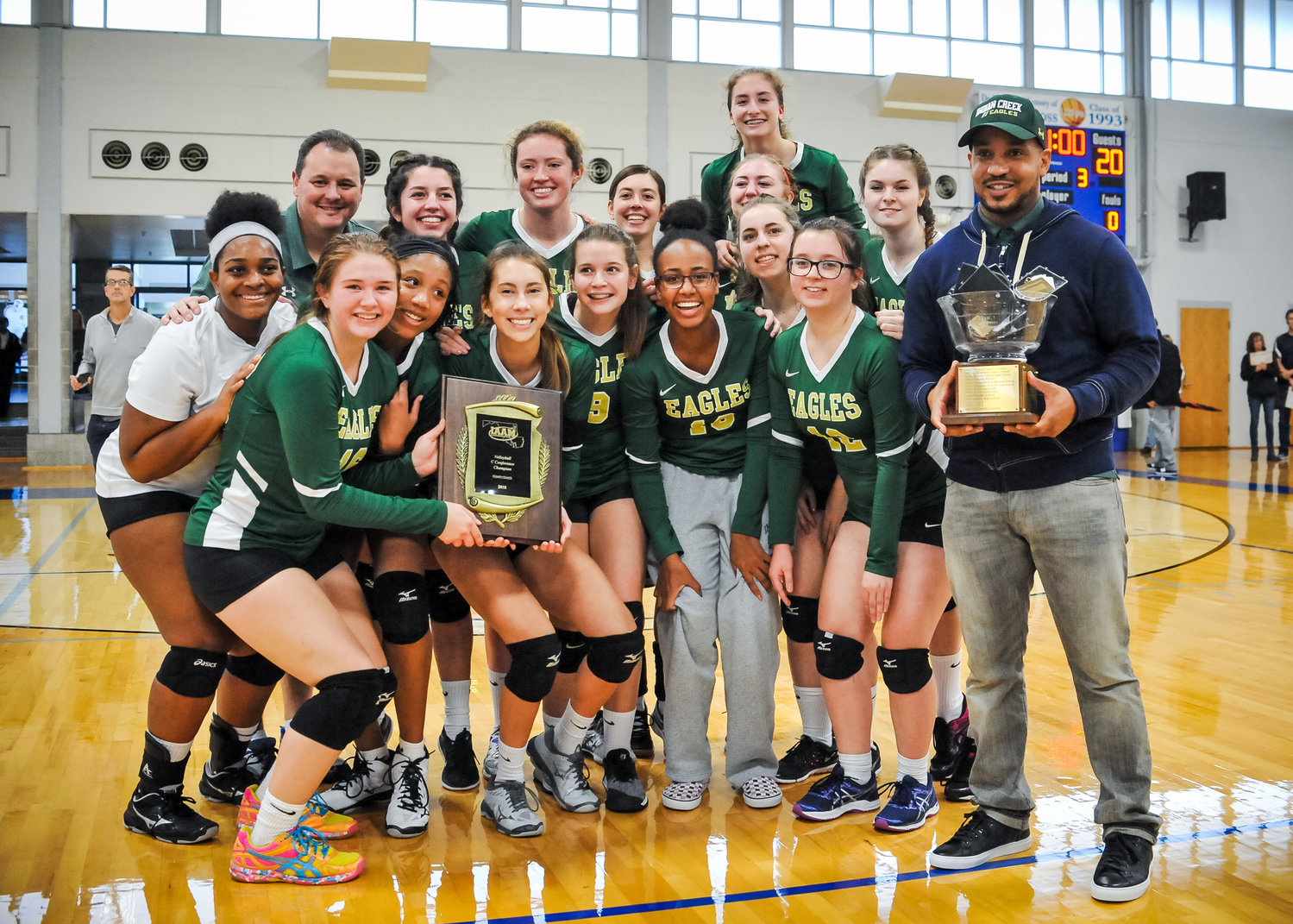 The Eagles are first-time champions of the IAAM C Conference after defeating Friends School in three sets at Goucher College on October 27. Competing as a varsity team for the first time this season, Indian Creek won the championship and finished 10-1 overall.